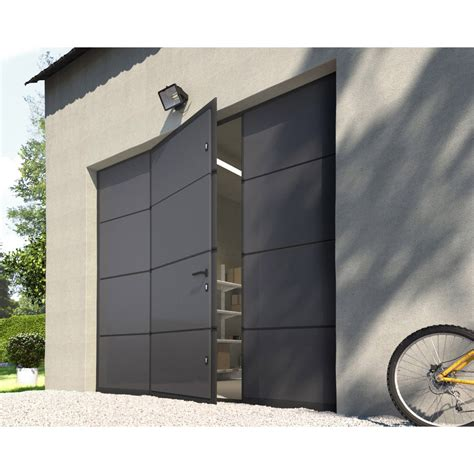 porte de garage sectionnelle motoris 233 e artens essentiel 200x240cm avec portillon leroy merlin