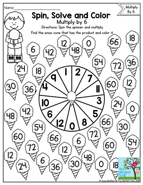 Spin, Solve And Color Practicing Multiplication Facts With A Fun Math Game! Multiplication