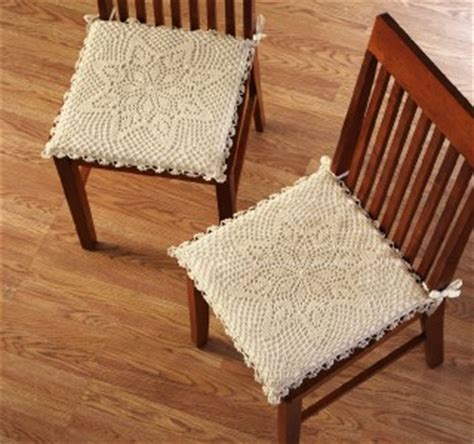 shabby chic style crochet kitchen dining chair pad cushion