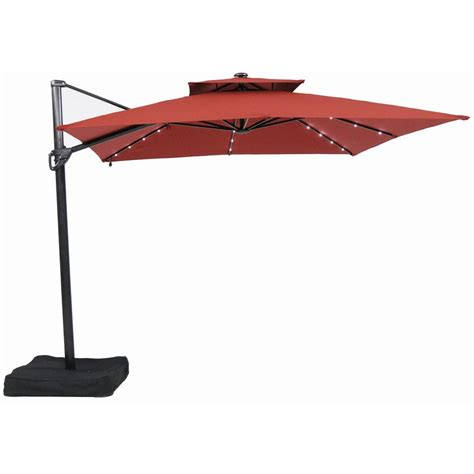 garden treasures 10 ft square offset umbrella with led