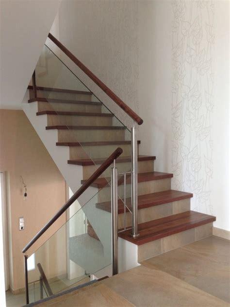 escalier b 233 ton habillage marche ch 234 ne am 233 ricain garde corps verre bois et inox
