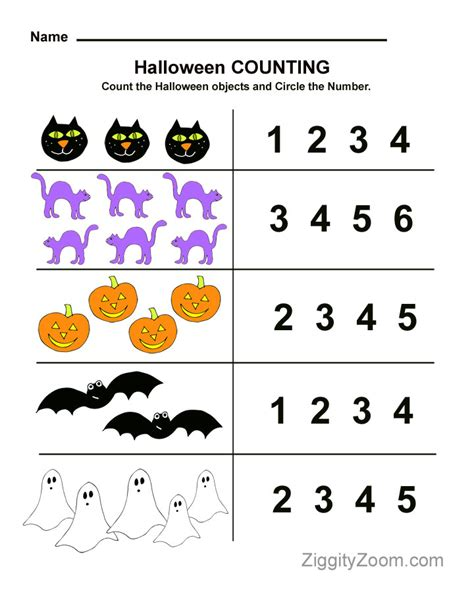 Halloween Preschool Worksheet For Counting Practice  National Kindergarten Readiness