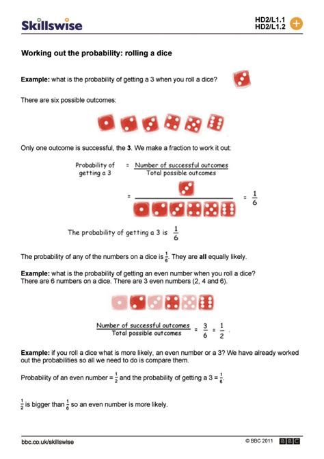 Dice Probability Worksheet #2 Worksheet