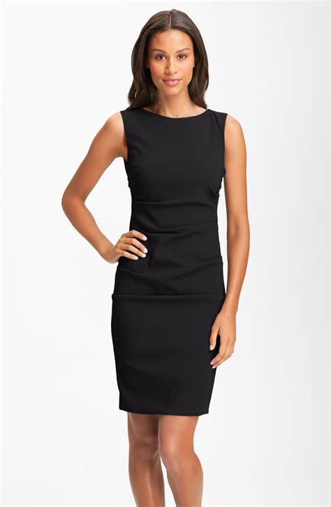 Sleeveless Dress by Nicole Miller Sleeveless Ruched Crepe Sheath Dress In