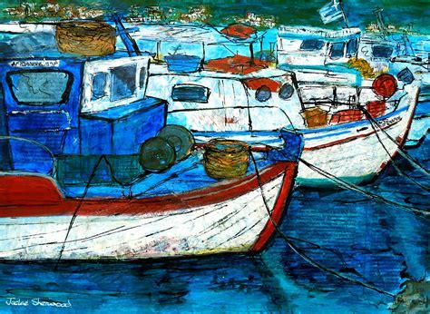 Fishing Boat Art by Greek Fishing Boats Painting By Jackie Sherwood