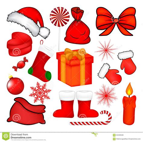 Christmas Mittens Set, Cartoon Gloves Design, Icon, Symbol Winter Vector Illustration Isolated