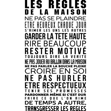 sticker les r 232 gles de la maison stickers citations fran 231 ais ambiance sticker