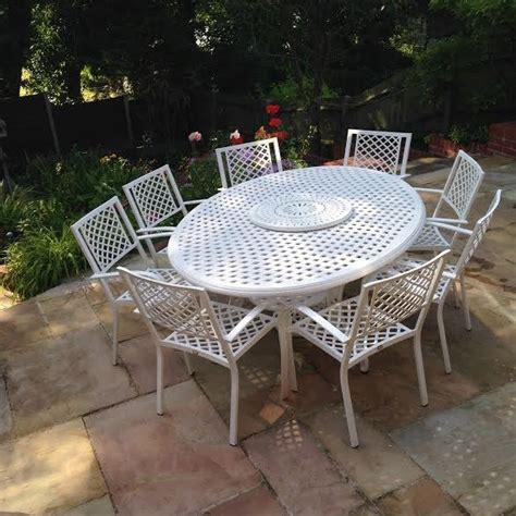 salon de jardin blanc grande taille table fer forge
