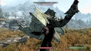 The Elder Scrolls Skyrim - Blood Dragon Vs Werewolf - YouTube