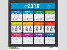 Calendario Colorido 2018 En Fondo Oscuro Ilustración del