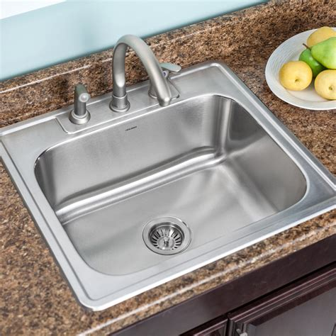 houzer glowtone 25 quot x 22 quot topmount single bowl 18 kitchen sink reviews wayfair