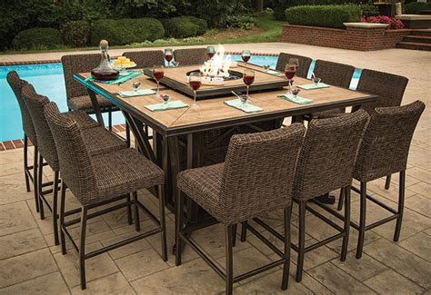agio luxury high top pit table set 8 bar chairs ml outdoor furnishing
