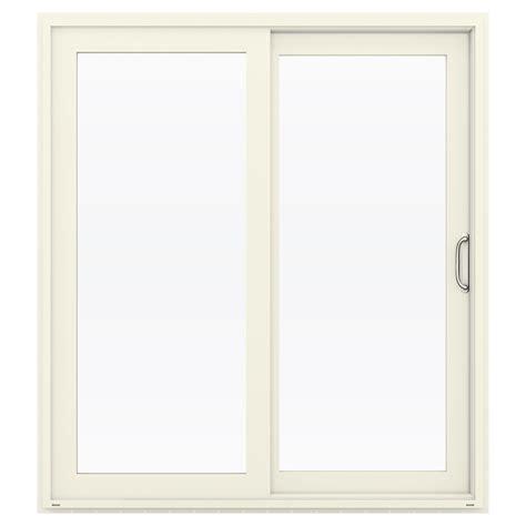 shop jeld wen v 4500 71 5 in 1 lite glass vanilla vinyl sliding patio door with screen at