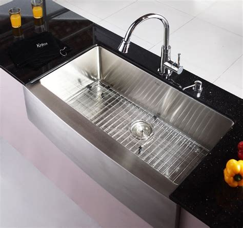 kraus khf20036 36 inch farmhouse apron single bowl kitchen sink with 16 stainless steel