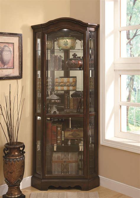 coaster curio cabinets 5 shelf corner curio cabinet with shaped crown base sol furniture
