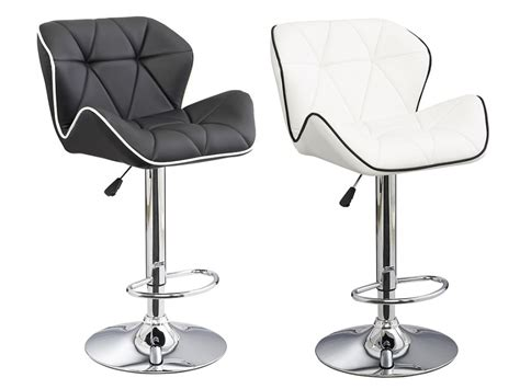 lot de 2 tabourets de bar design en simili christi ii coloris noir avec passepoil blanc