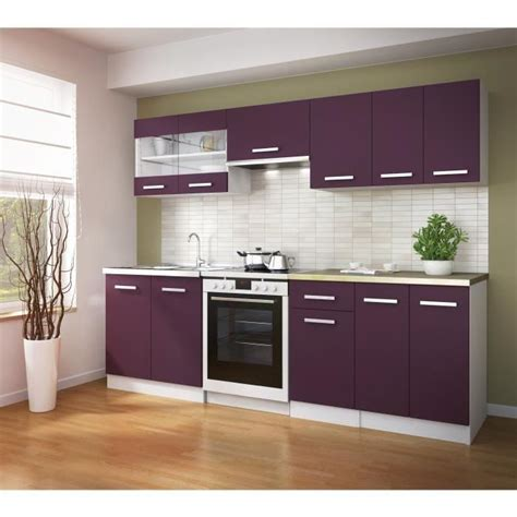 ultra cuisine compl 232 te 240 cm aubergine achat vente cuisine compl 232 te cuisine complete ultra