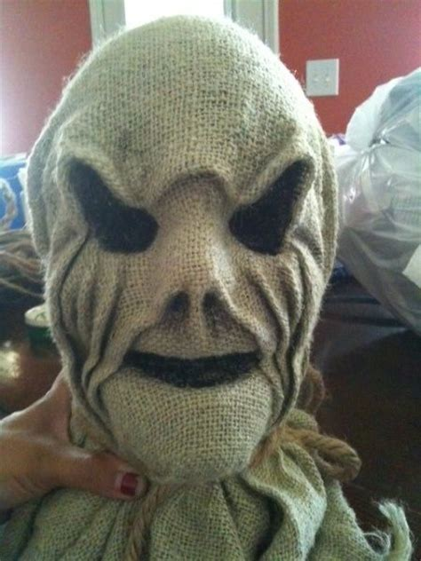 Creepy Scarecrow Tutorial Dollar Store Skull Cover In Burlap  Haunted House Diy  Props & Set