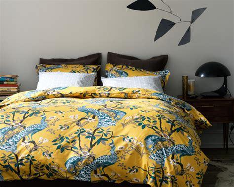 dwellstudio peacock citrine king duvet cover and shams