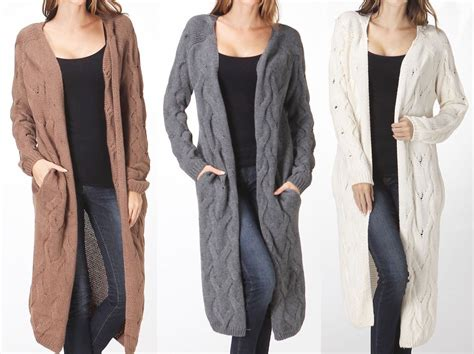 Maxi Cardigan Cable Knit Textured Open-front Sweater Long Sleeves Top
