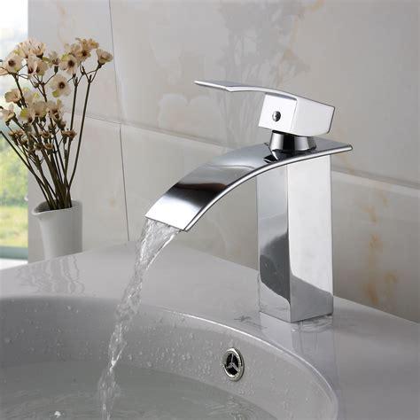 Elite Modern Bathroom Sink Waterfall Faucet Chrome Finish