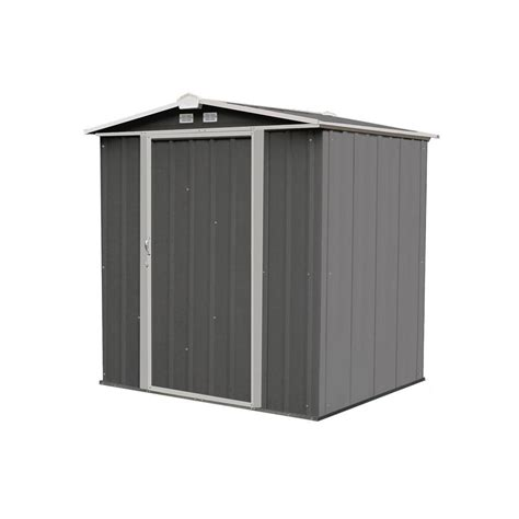 arrow ezee shed 6 ft x 5 ft galvanized steel charcoal trim low gable ez6565lvcccr the