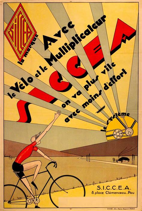 henry tajous original vintage deco cycling poster advertising siccea bicycle systems