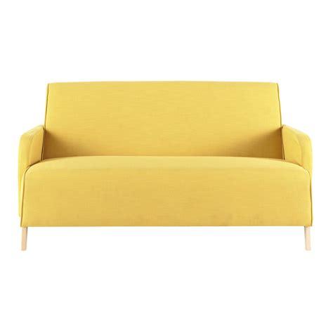 canap 233 2 places en tissu jaune adam maisons du monde