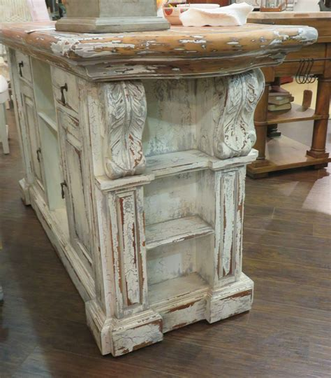 Distressed French Country Kitchen Island Bar Counter