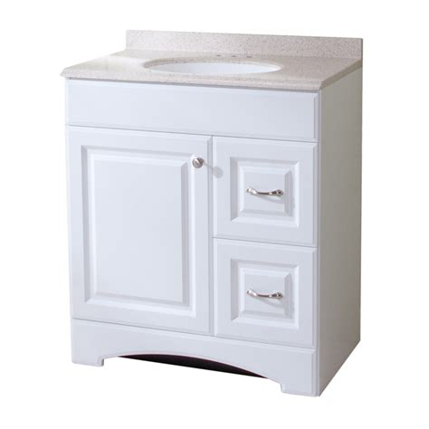 shop style selections almeta 30 in x 18 in white integral single sink bathroom vanity with