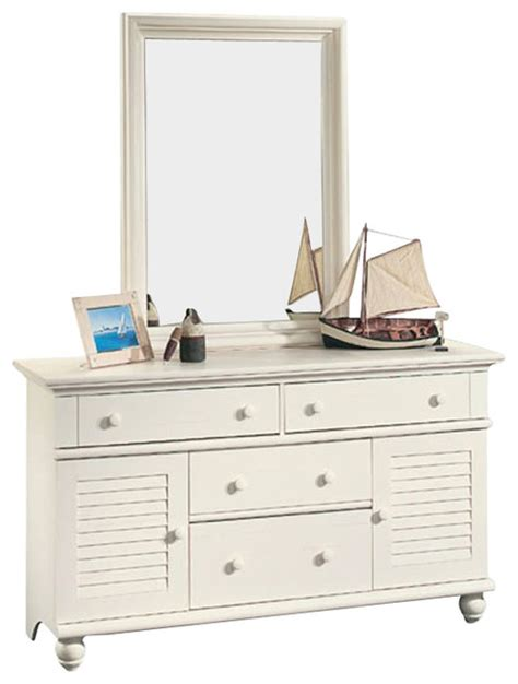 sauder harbor view dresser and mirror set in antiqued white style dressers by cymax