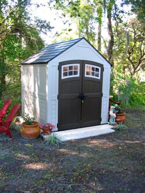 suncast sutton 7 ft 3 in x 7 ft 4 5 in resin storage shed power tools sheds and places