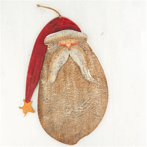 Large Primitive Wooden Santa  Christmas and Holiday