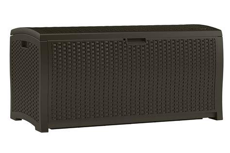 suncast 99 gallon mocha wicker resin deck box outdoor patio cushion storage new ebay