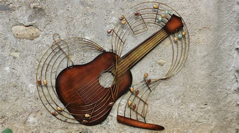 d 233 coration murale guitare en fer forg 233