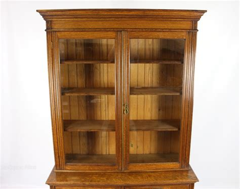Antique Victorian Oak Bookcase On Cabinet Cupboard