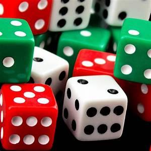 White Red Green Square Opaque Dice Black Dots Casino Board ...