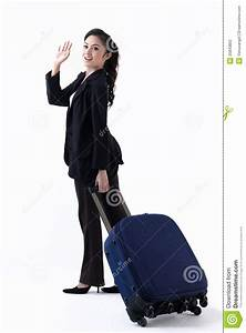 A Woman Pulling A Luggage And Waving Hand Royalty Free ...