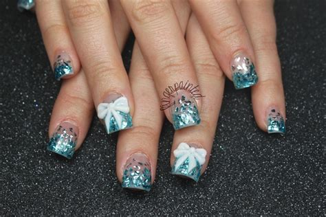 Christmas Winter Blue Icicle Nails