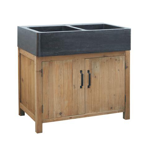 meuble bas de cuisine avec 233 vier en bois recycl 233 l 90 cm pagnol maisons du monde