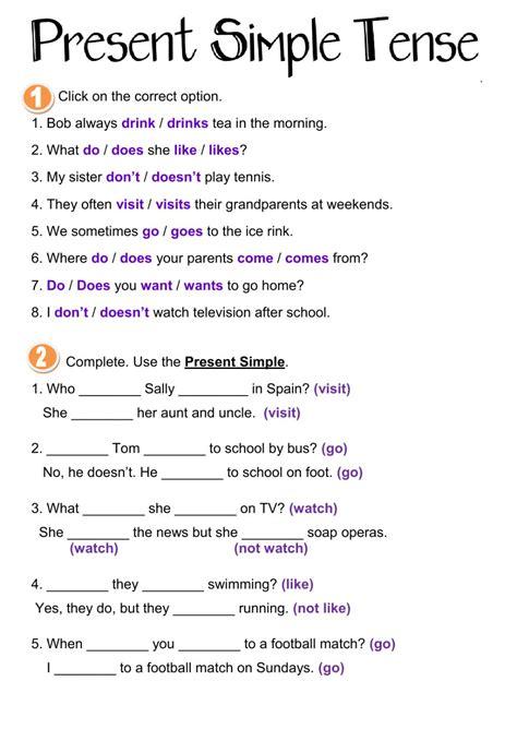 Present Simple Tense  Interactive Worksheet