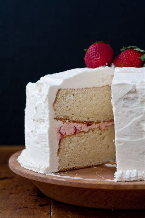 white cake with strawberry filling sweet