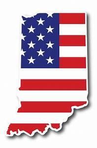 Indiana American Flag Sticker   Hoosier Proud