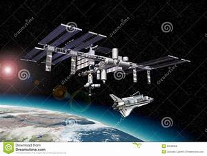 Space Station In Orbit Around Earth, With Shuttle. Stock ...