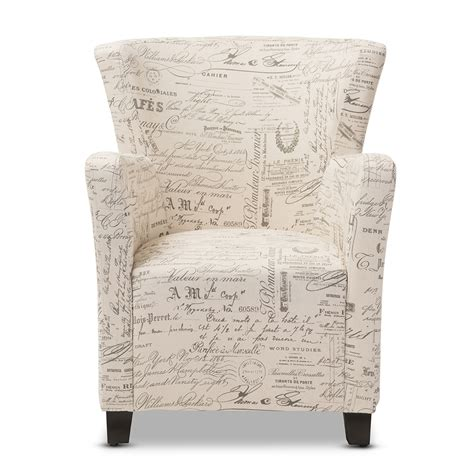 Script Chair And Ottoman by Baxton Studio Benson Script Patterned Fabric Club