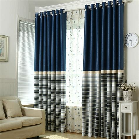 Navy And White Striped Curtains Blackout simple navy polyester blackout striped curtains