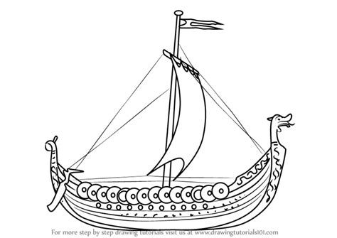 How To Draw A Cartoon Boat Step By Step by Learn How To Draw A Viking Ship Boats And Ships Step By