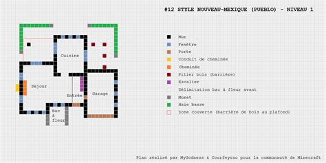 plan maison pueblo de style nouveau mexique minecraft