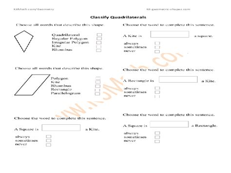 Triangles And Quadrilaterals Worksheet 4th Grade  Geometry Worksheets Quadrilaterals And