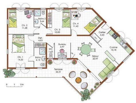 les 25 meilleures id 233 es de la cat 233 gorie plan maison plain pied sur plan maison plein